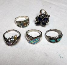 Lot 126: 5 DIFFERENT STERLING SILVER RINGS TURQUOISE GEMSTONE MOP ETC NICE VARIETY