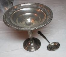 Lot 122: WEIGHTED STERLING SILVER PEDESTAL BOWL AND FANCY EMBOSSED BOWL ANTIQUE STERLING SPOON