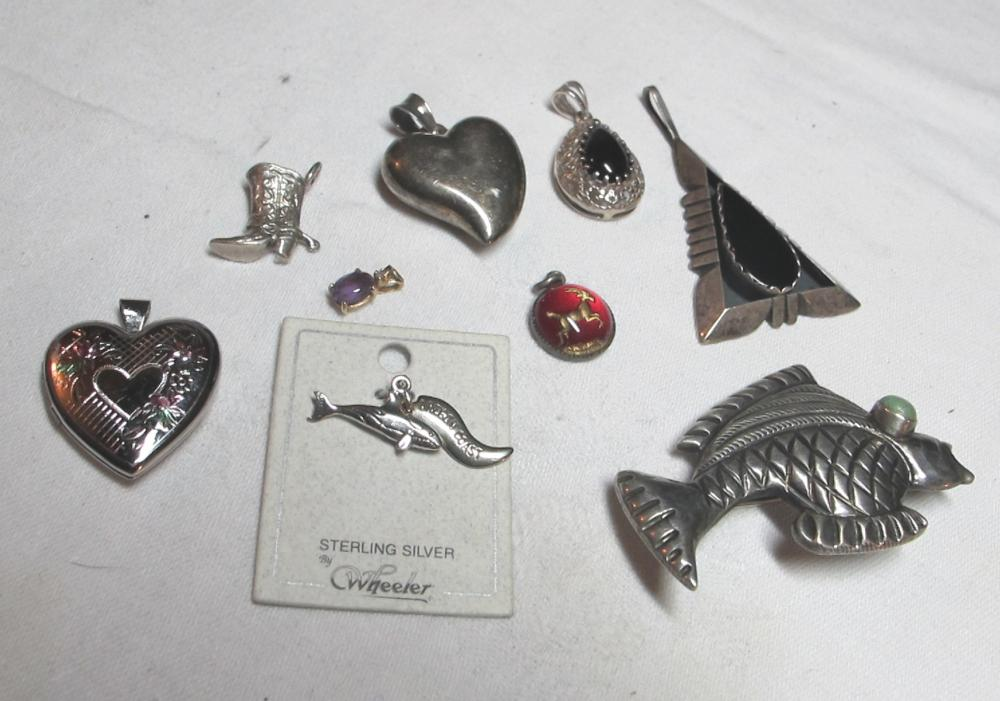 9 DIFF STERLING SILVER PENDANTS CHARMS MEXICO FISH EE NAVAJO PUFFY HEART +