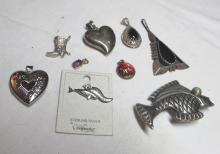 Lot 124: 9 DIFF STERLING SILVER PENDANTS CHARMS MEXICO FISH EE NAVAJO PUFFY HEART +