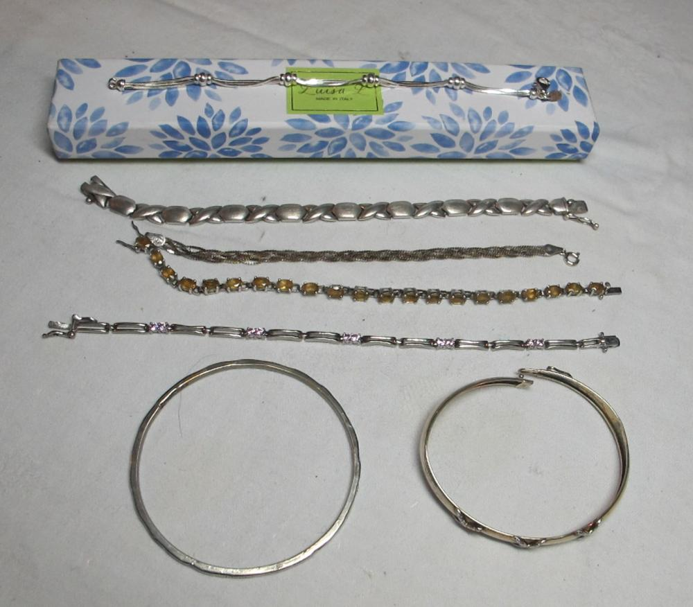 7 ASSORTED STERLING SILVER BRACELETS ONE WITH BOX