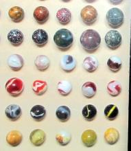 Lot 32: SHADOW BOX 108 OLD MARBLES OXBLOOD CLAY MICA CHRISTENSEN AKRO AGATE SWIRL 9 SULPHIDE MORE NICE
