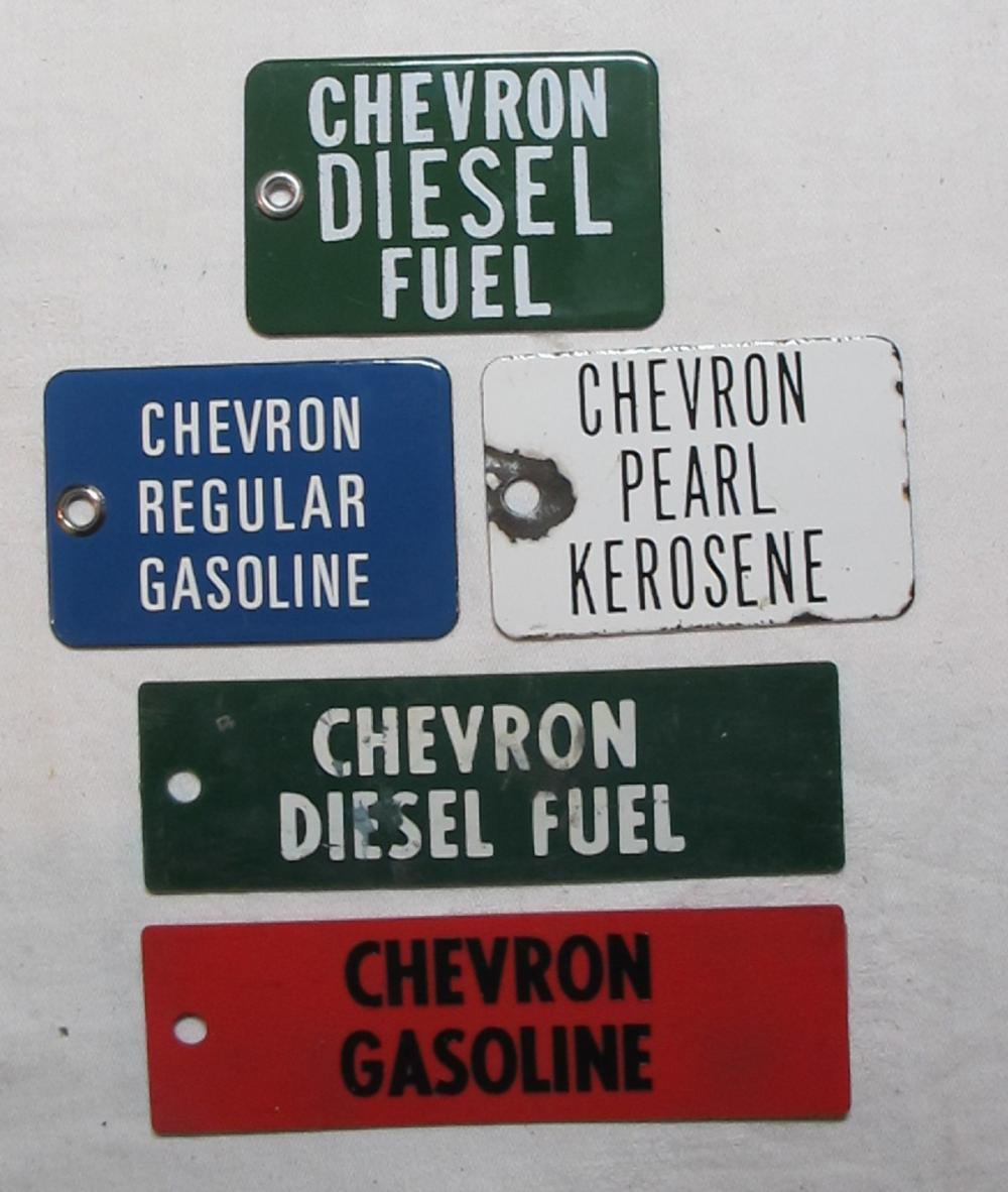 5 VINTAGE PORCELAIN CHEVRON GAS DIESEL KEROSENE SMALL GAS PUMP TAG SIGN PLATES PLASTIC