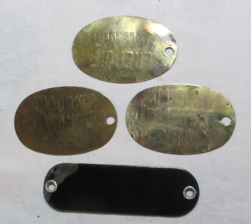 Lot 174: 4 OLD BRASS PORCELAIN STANDARD RPM 76 FUEL MOTOR OIL GAS UNIFUEL PUMP TAG SIGN PLATES