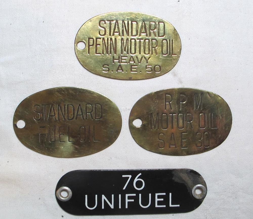 4 OLD BRASS PORCELAIN STANDARD RPM 76 FUEL MOTOR OIL GAS UNIFUEL PUMP TAG SIGN PLATES