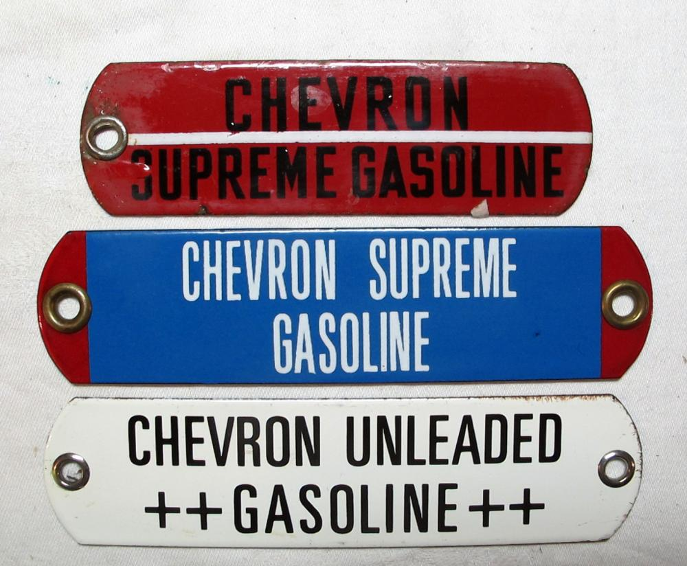 3 OLD PORCELAIN ENAMEL CHEVRON GASOLINE GAS PUMP TAG SIGN PLATES SUPREME UNLEADED ++