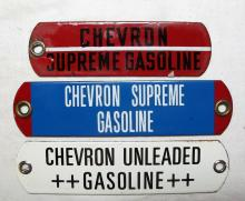 Lot 173: 3 OLD PORCELAIN ENAMEL CHEVRON GASOLINE GAS PUMP TAG SIGN PLATES SUPREME UNLEADED ++