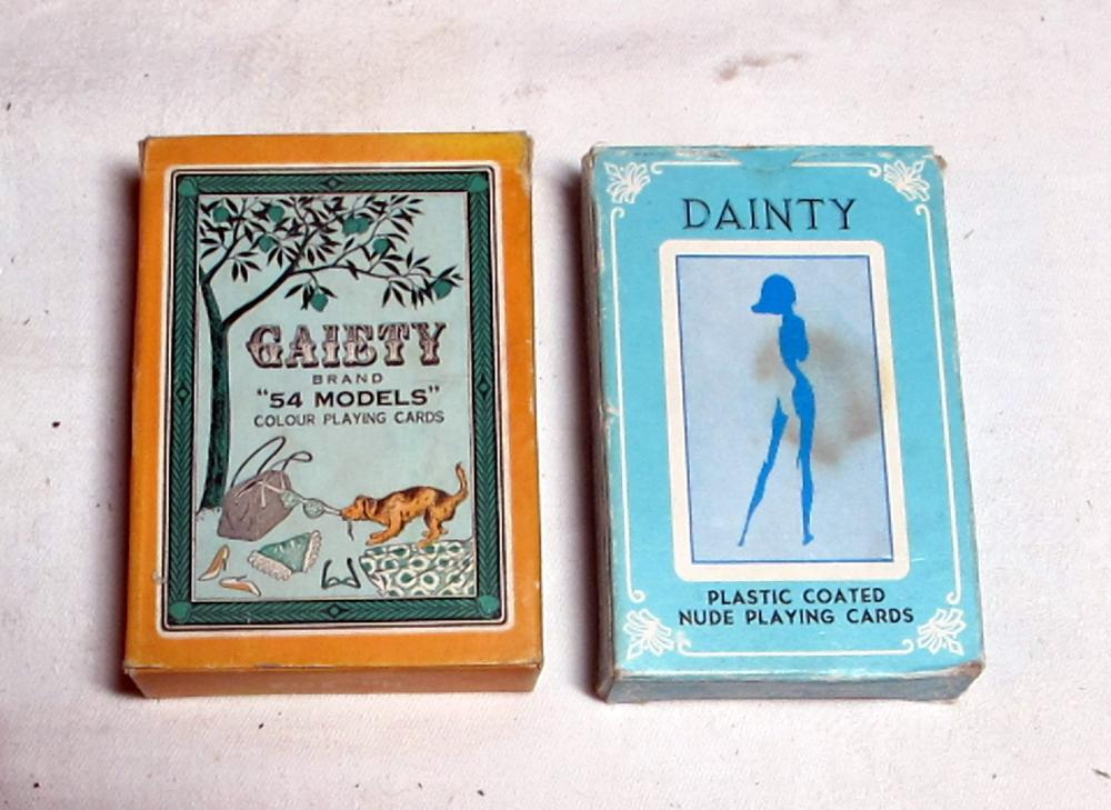Lot 176: 2 COMPLETE VINTAGE NUDE GIRLS PLAYING CARD SETS GAIETY DAINTY COMPLETE 54