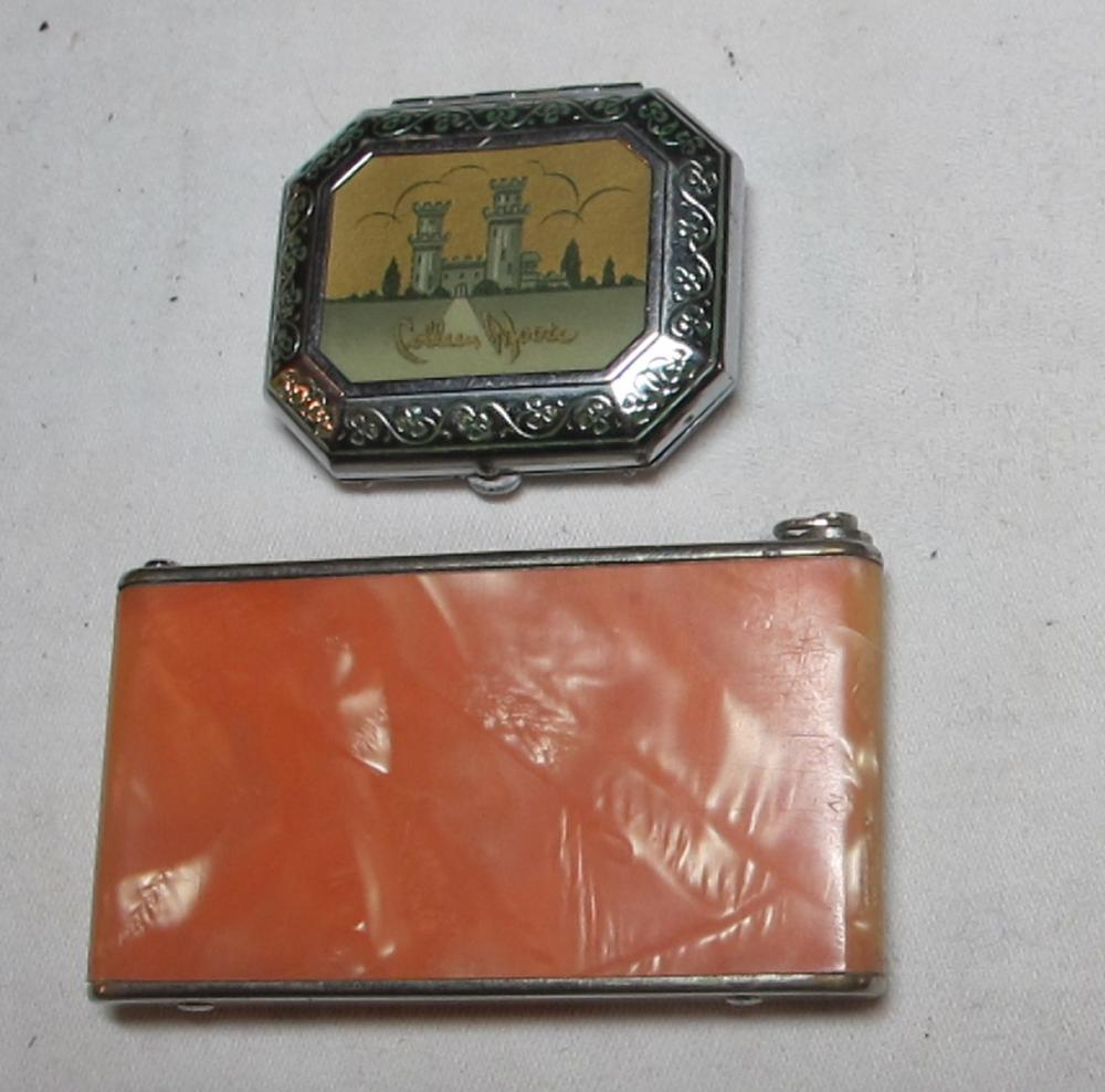 2 VINTAGE ART DECO MAKEUP COMPACT CASES GIREY COLLEEN MOORE DARNEE