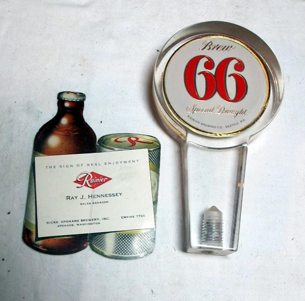 Lot 26: VINTAGE SICKS RAINIER BREW 66 SPECIAL DRAUGHT TAP HANDLE + SPOKANE DISTRIBUTOR DIECUT CARD