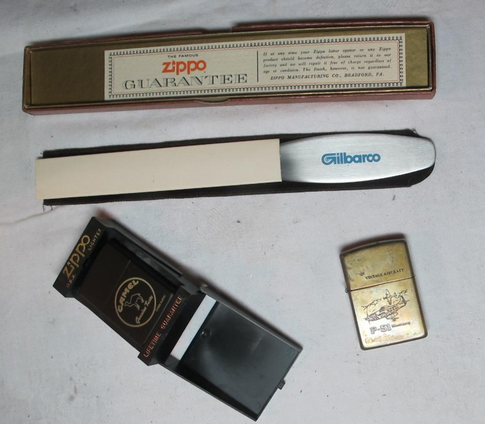 ZIPPO LOT GILBARCO LETTER OPENER VINTAGE AIRCRAFT P-51 MUSTANG LIGHTER CAMEL LIGHTER WITH BOX