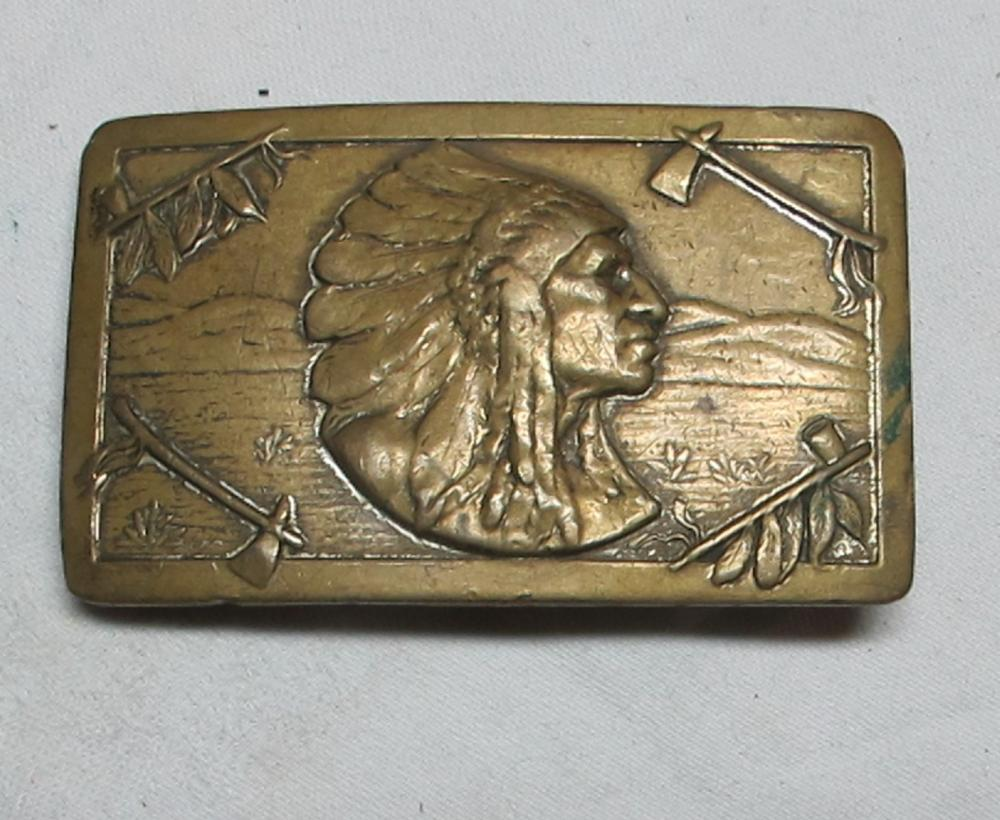 ORIGINAL OLD KEYSTON BROS SAN FRANCISCO INDIAN CHIEF HEADDRESS BRASS WESTERN BELT BUCKLE