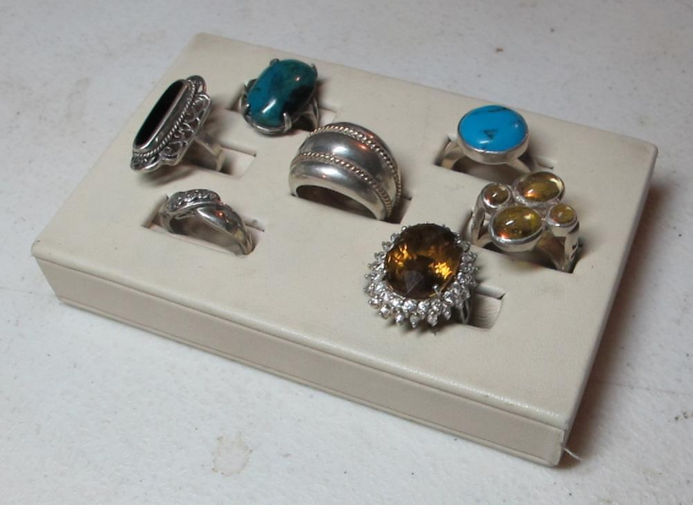 Lot 181: 7 FANCY STERLING SILVER RINGS TURQUOISE SIGNED MEXICO ETC