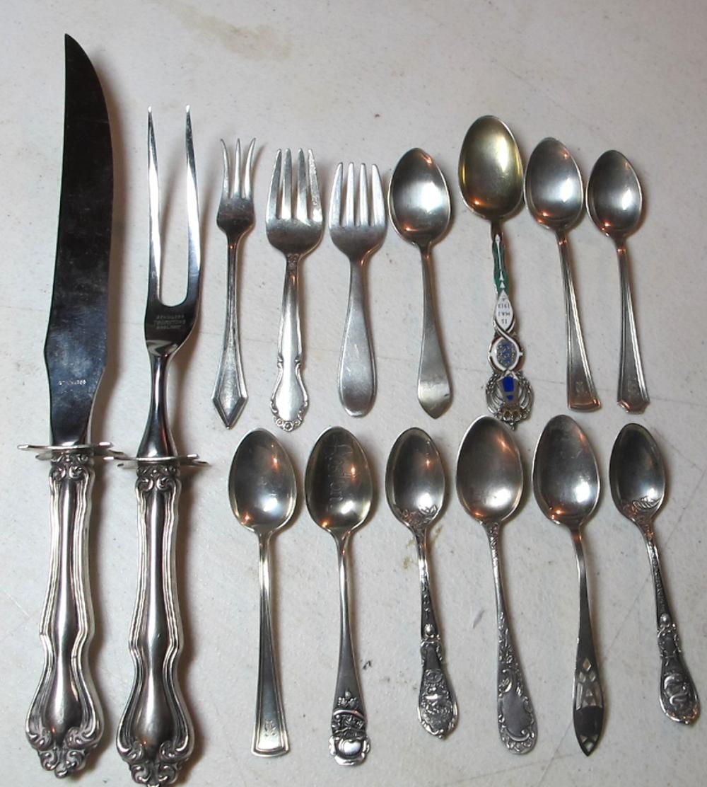 Lot 196: 15 PC STERLING SILVER LOT SOUVENIR SPOONS HORS DOUVRE FORKS SERVING PIECES ETC