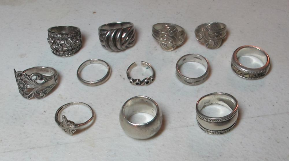 12 ASSORTED STERLING + 830 SILVER RINGS NICE VARIETY