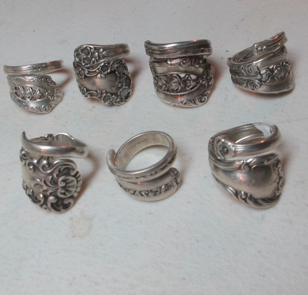 7 LARGE FANCY PATTERN STERLING SILVER SPOON RINGS SIZE 9 9.5 10