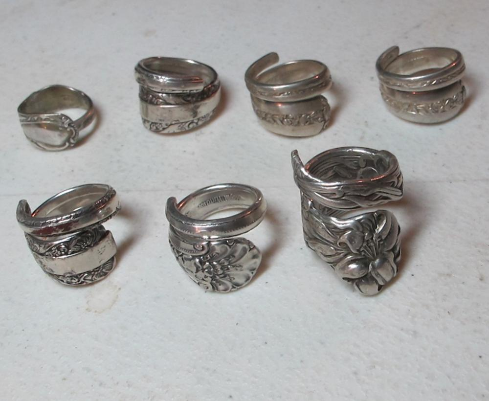7 MEDIUM FANCY STERLING SILVER SPOON RINGS SIZE 7 8