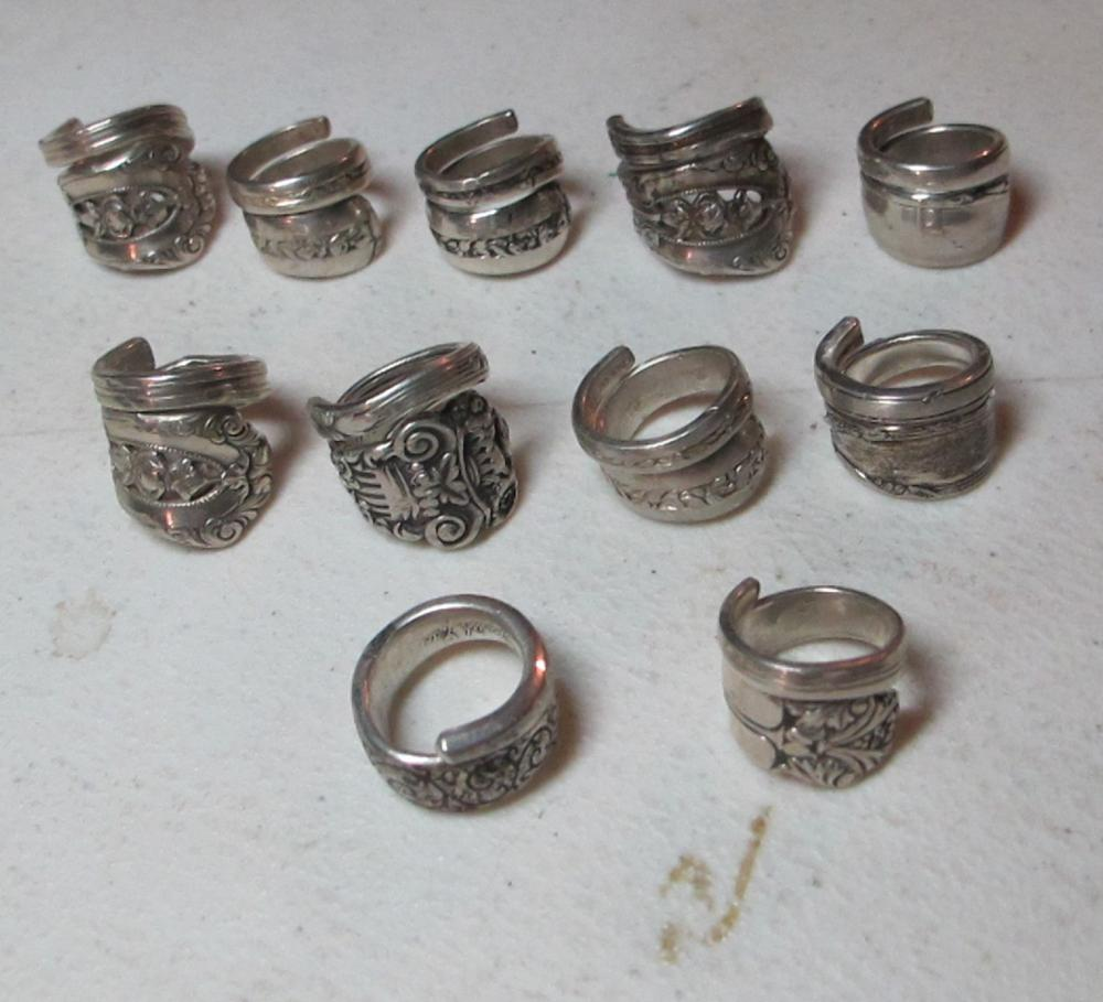 11 SMALL FANCY STERLING SILVER SPOON RINGS SIZE 5 5.5 6