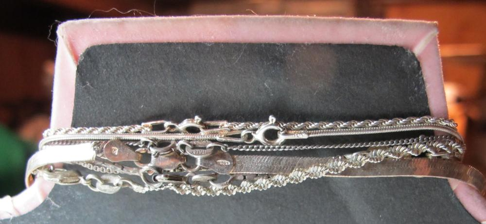 Lot 188: 7 STERLING SILVER NECKLACES WITH PENDANTS FORK HEART CHAIN MESH