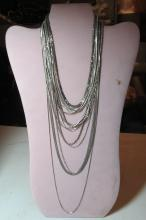 Lot 189: 17 ASSORTED STERLING SILVER CHAIN MESH NECKLACES