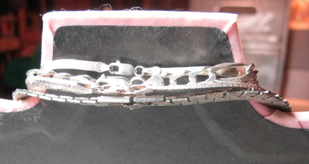 Lot 191: 4 ASSORTED STERLING SILVER NECKLACES HEAVY CHAIN MESH ETC