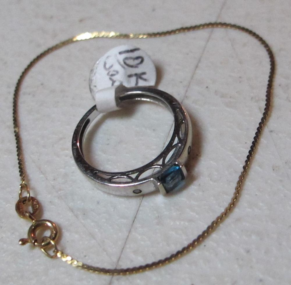 WHITE GOLD 10K RING W/TOPAZ + SMALL 14K GOLD CHAIN BRACELET