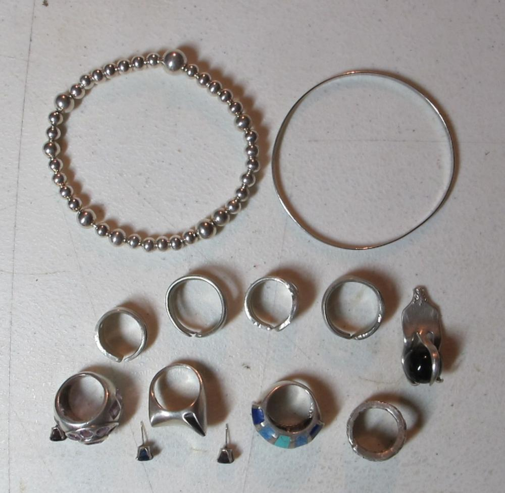 LOT OF ASSORTED POSSIBLE SILVER JEWELRY UNMARKED NICE RINGS BRACELETS ETC