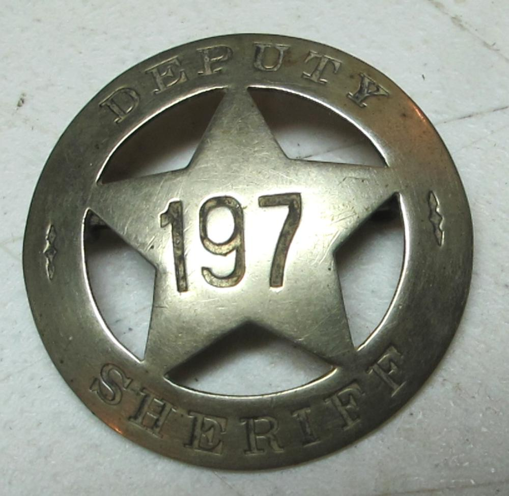 EARLY 1900'S DEPUTY SHERIFF 197 BADGE MARKED S.L. STAMP CO.