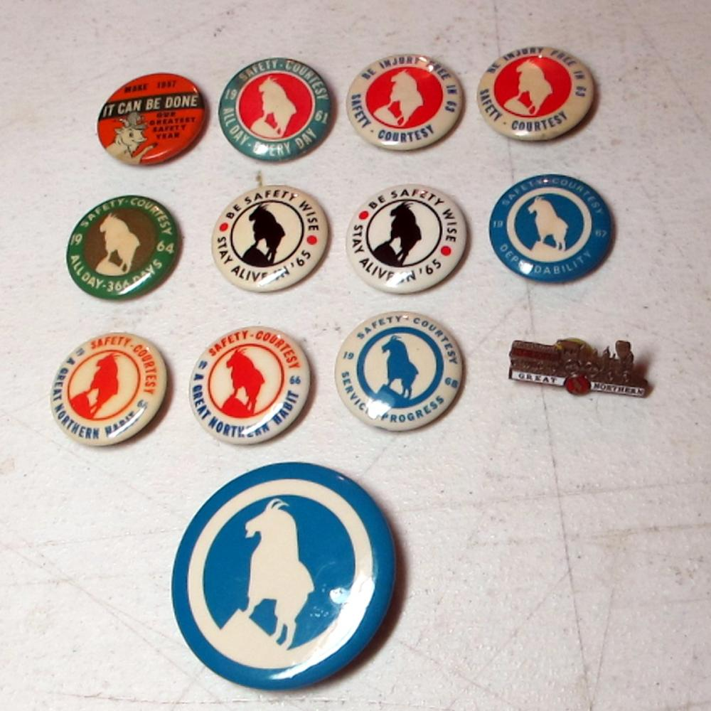 12 1950'S 1960'S GREAT NORTHERN RAILROAD GNRY SAFETY GOAT PINBACK BUTTONS + BONUS