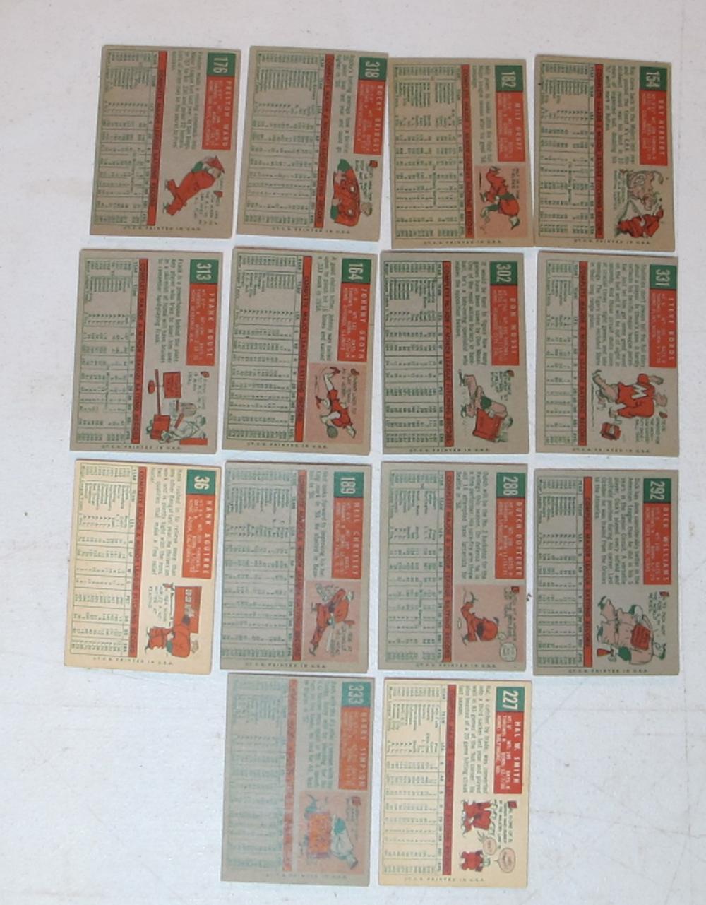 Lot 65: 14 DIFF 1959 TOPPS BASEBALL CARDS COMMONS EX-NRMT