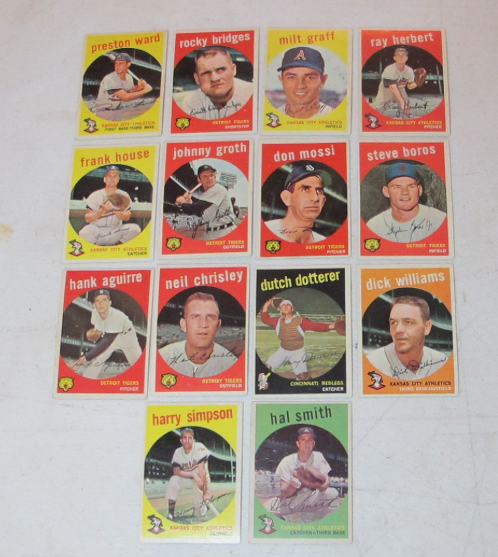 14 DIFF 1959 TOPPS BASEBALL CARDS COMMONS EX-NRMT