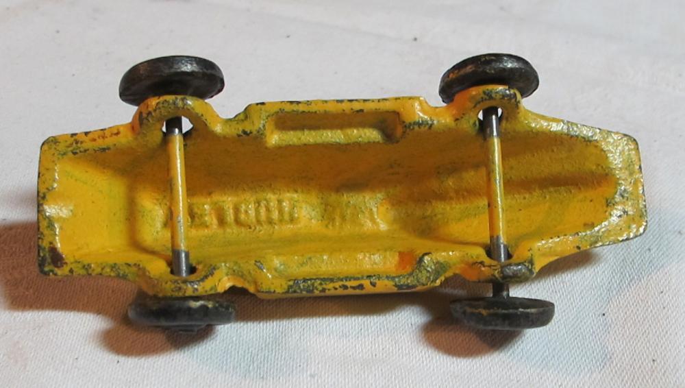 """Lot 38: ORIGINAL CAST IRON HUBLEY 1930'S YELLOW SLANT NOSE RACER RACE CAR NICE 4"""""""