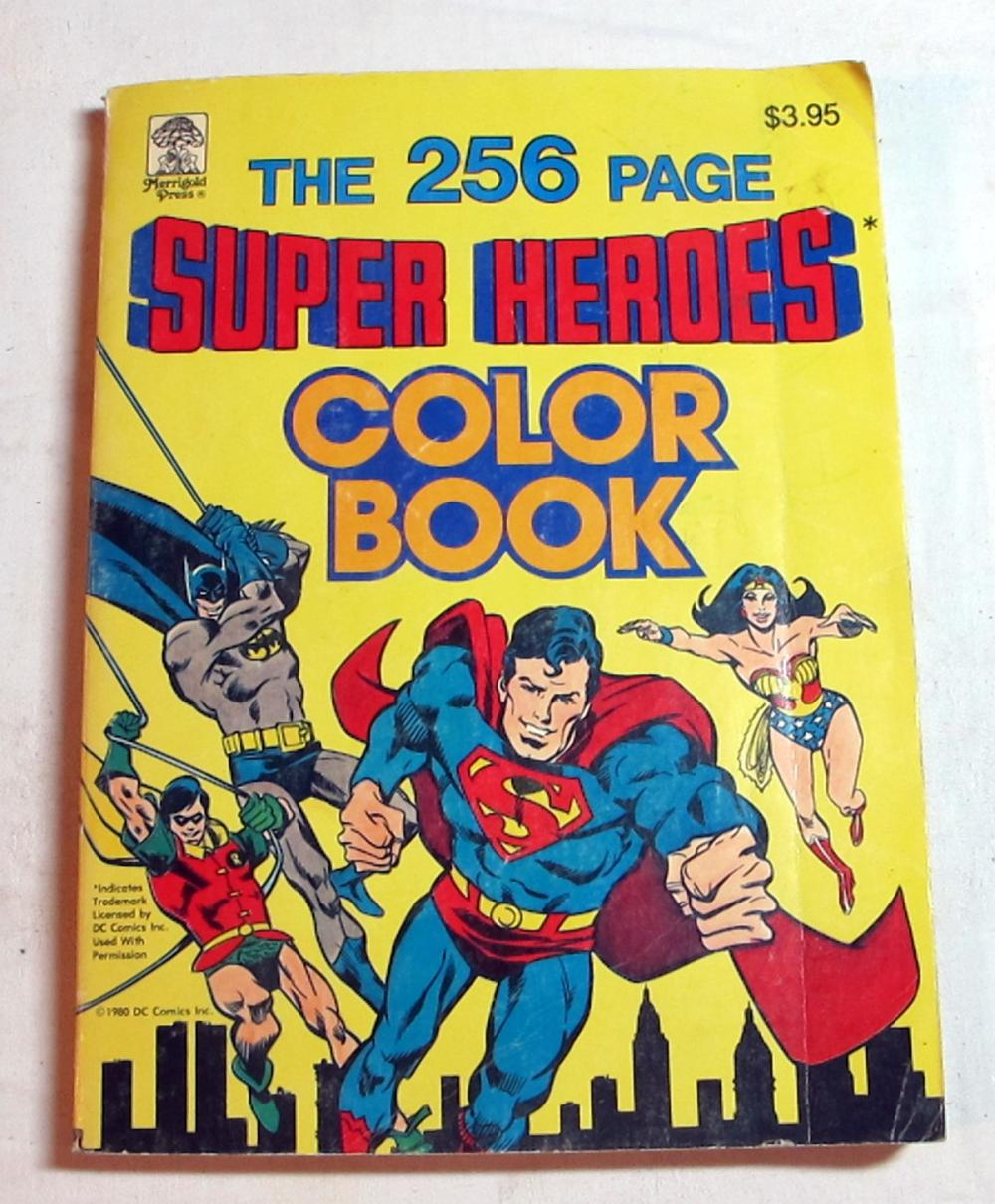 RARE 1980 DC COMICS SUPER HEROES COLOR COLORING BOOK UNUSED COMIC STORY PAGES