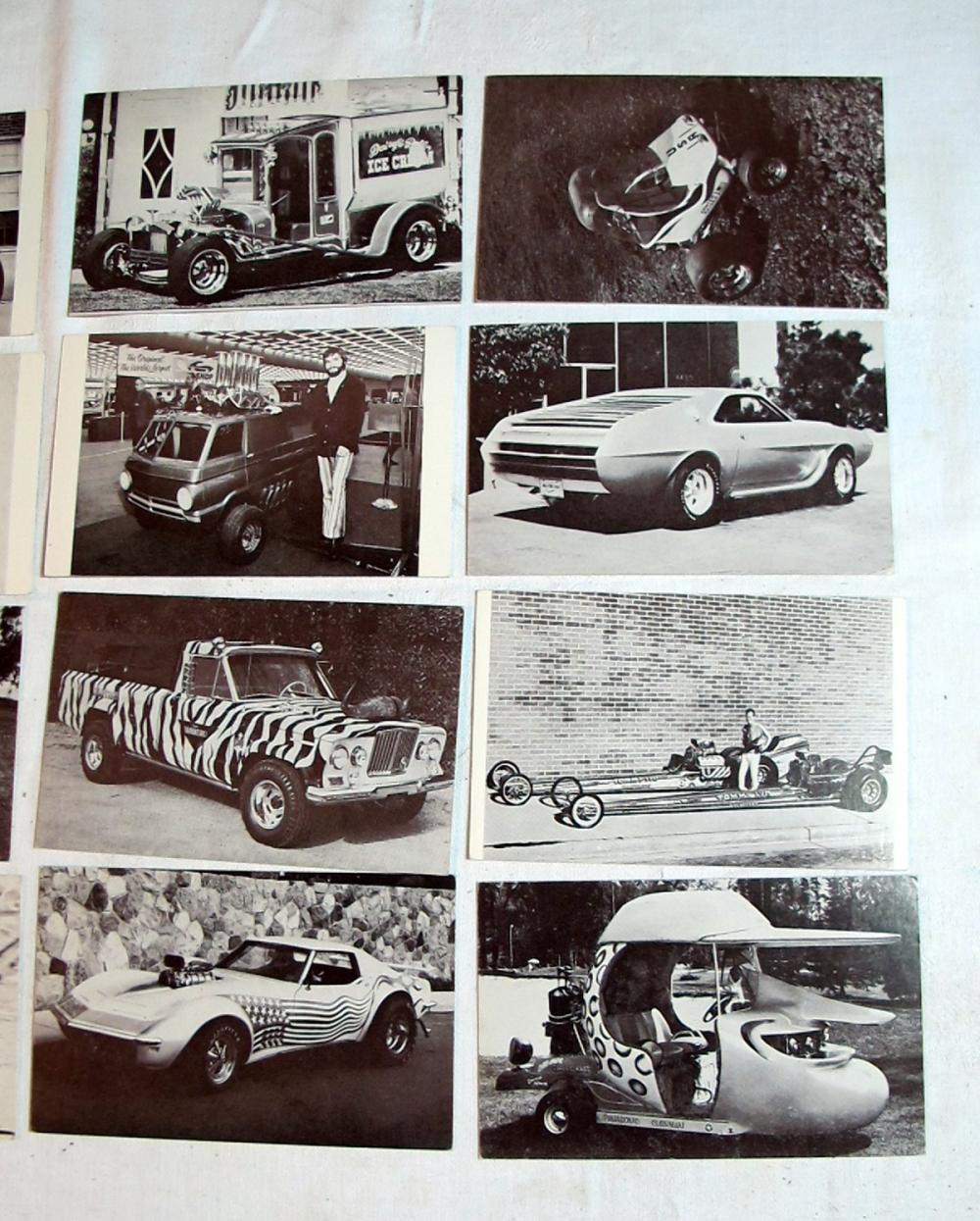 Lot 199: 16 DIFFERENT VINTAGE EXHIBIT SUPPLY CO HOT ROD TRADING VENDING POSTCARDS
