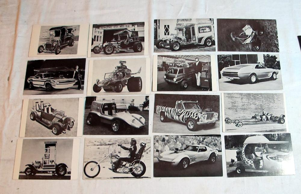 16 DIFFERENT VINTAGE EXHIBIT SUPPLY CO HOT ROD TRADING VENDING POSTCARDS