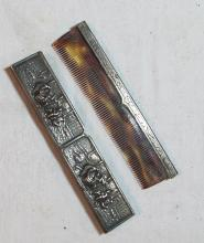 Lot 192: ANTIQUE DENMARK 1298 EMBOSSED REPOUSSE SILVER COMB WITH COVER