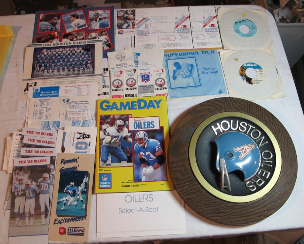 BIG LOT VINTAGE HOUSTON OILERS FOOTBALL MEMORABILIA WALL PLAQUE TICKET STUBS 45 RECORDS ETC