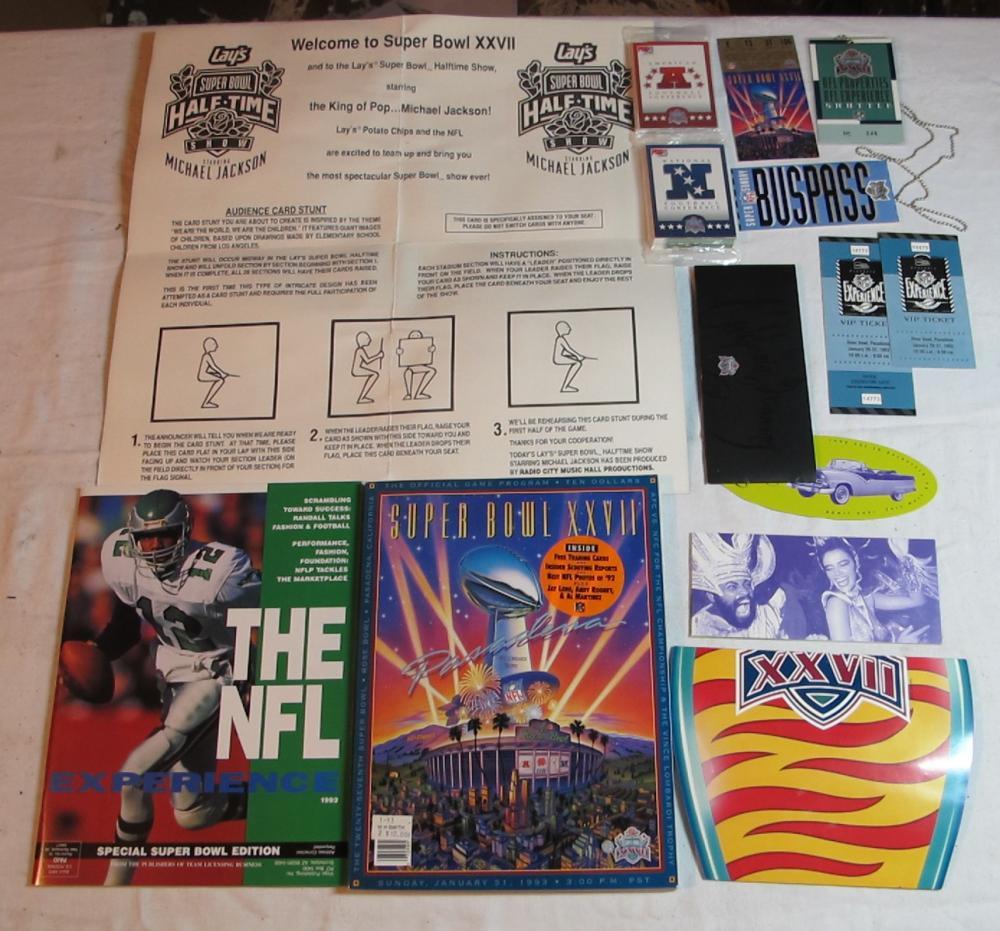 SUPER BOWL XXVII 27 COWBOYS BILLS TICKET STUB PROGRAM + MORE MEMORABILIA LOT PASADENA 1993