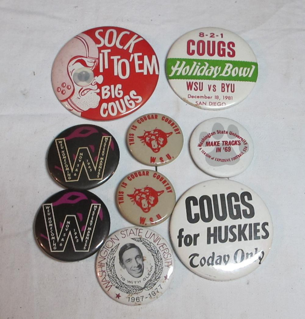 9 VINTAGE WSU WASHINGTON STATE COUGARS FOOTBALL PINBACK BUTTONS HOMECOMING ETC