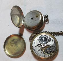 Lot 178: 2 ANTIQUE AS IS POCKET WATCHES + ANTIQUE BRASS COMPASS ILLINOIS KEYWIND ETC