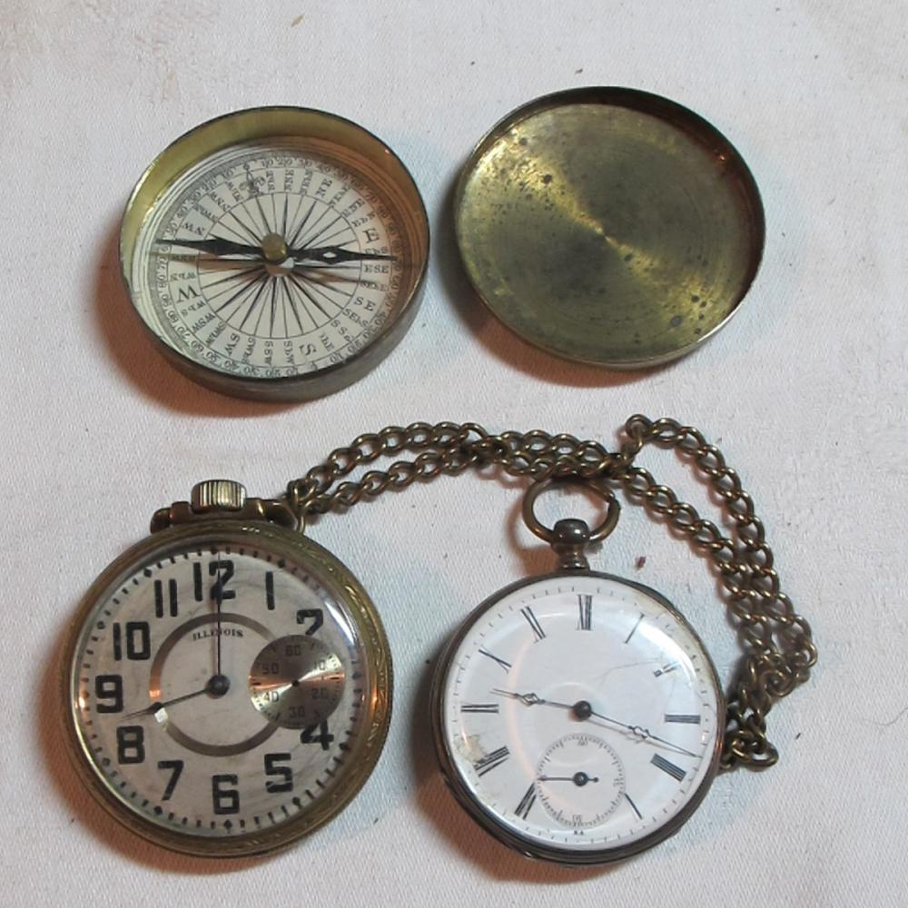 2 ANTIQUE AS IS POCKET WATCHES + ANTIQUE BRASS COMPASS ILLINOIS KEYWIND ETC
