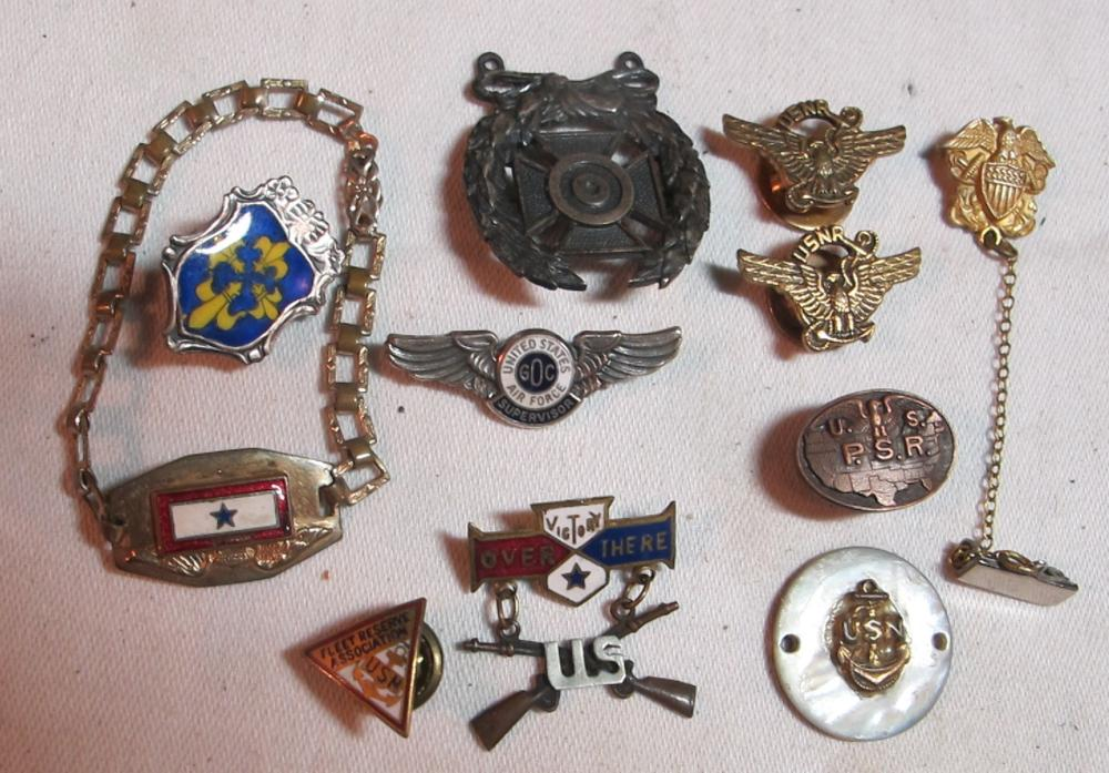 11 DIFF US MILITARY MEDALS PINS JEWELRY MOTHERS VICTORY OVER THERE USN USAF STERLING