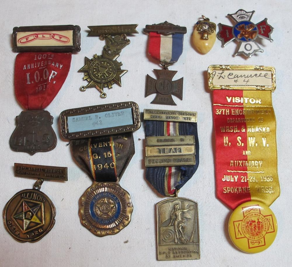 9 OLD MEDALS MASONIC NRA SPANISH AMERICAN WAR VETERANS LEGION ELKS TOOTH