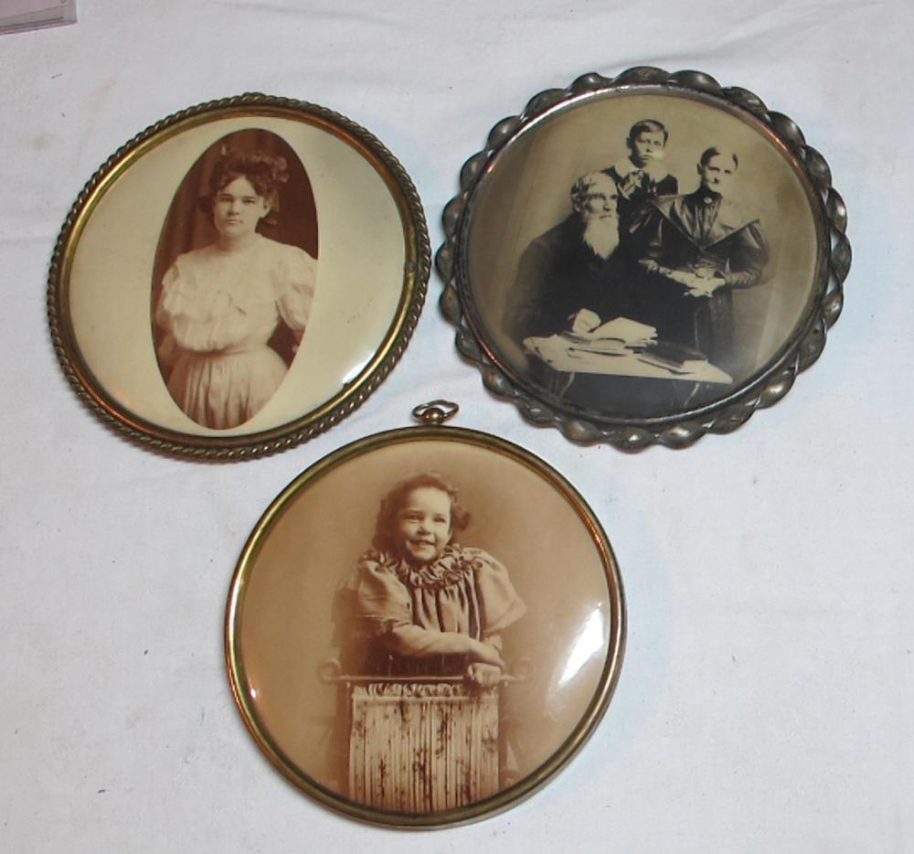 "3 VICTORIAN TIN FRAME CELLULOID PHOTO BUTTONS 6.5"" IDENTIFIED"