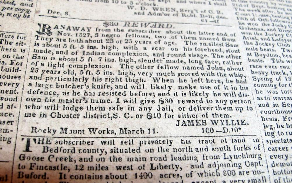 Lot 136: ORIGINAL APRIL 4 1828 RICHMOND ENQUIRER VIRGINIA NEWSPAPER RUNAWAY SLAVE ADS POLITICS ETC