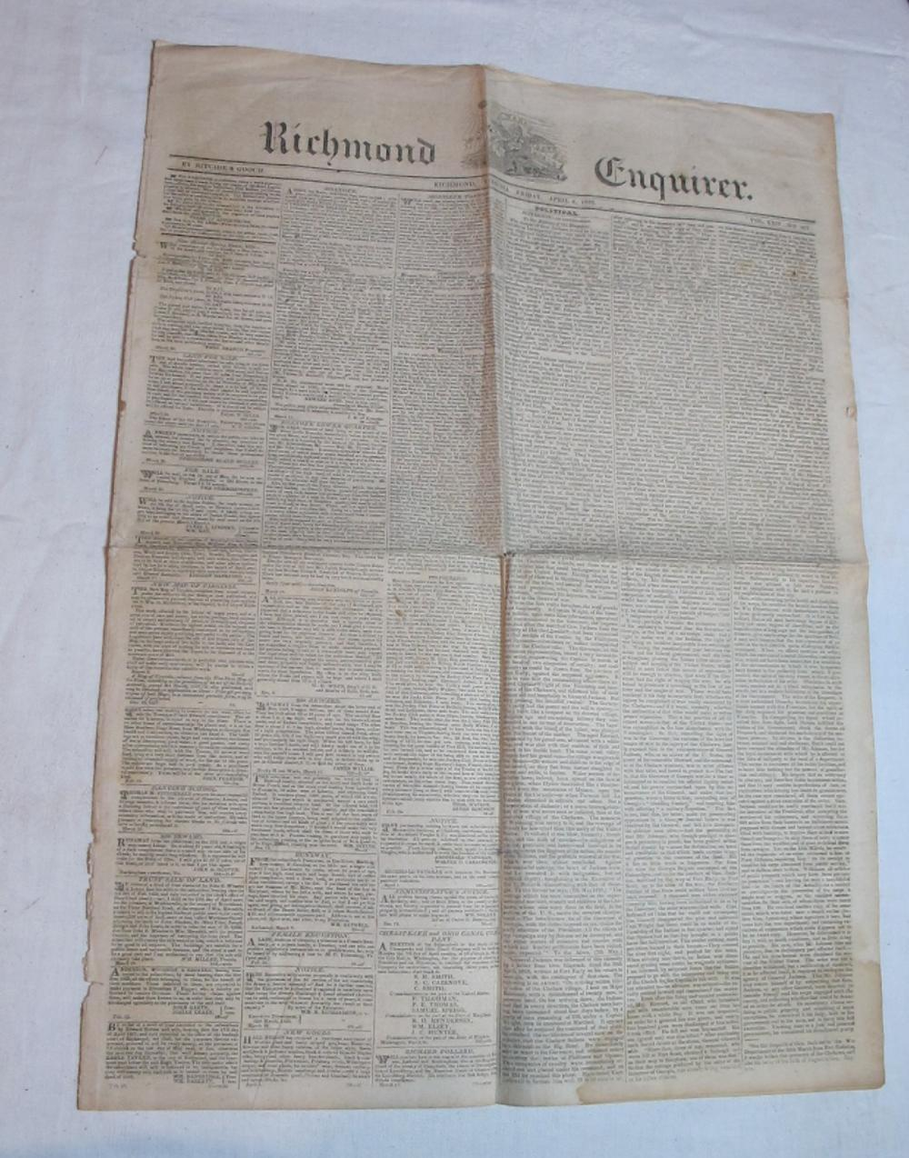 ORIGINAL APRIL 4 1828 RICHMOND ENQUIRER VIRGINIA NEWSPAPER RUNAWAY SLAVE ADS POLITICS ETC