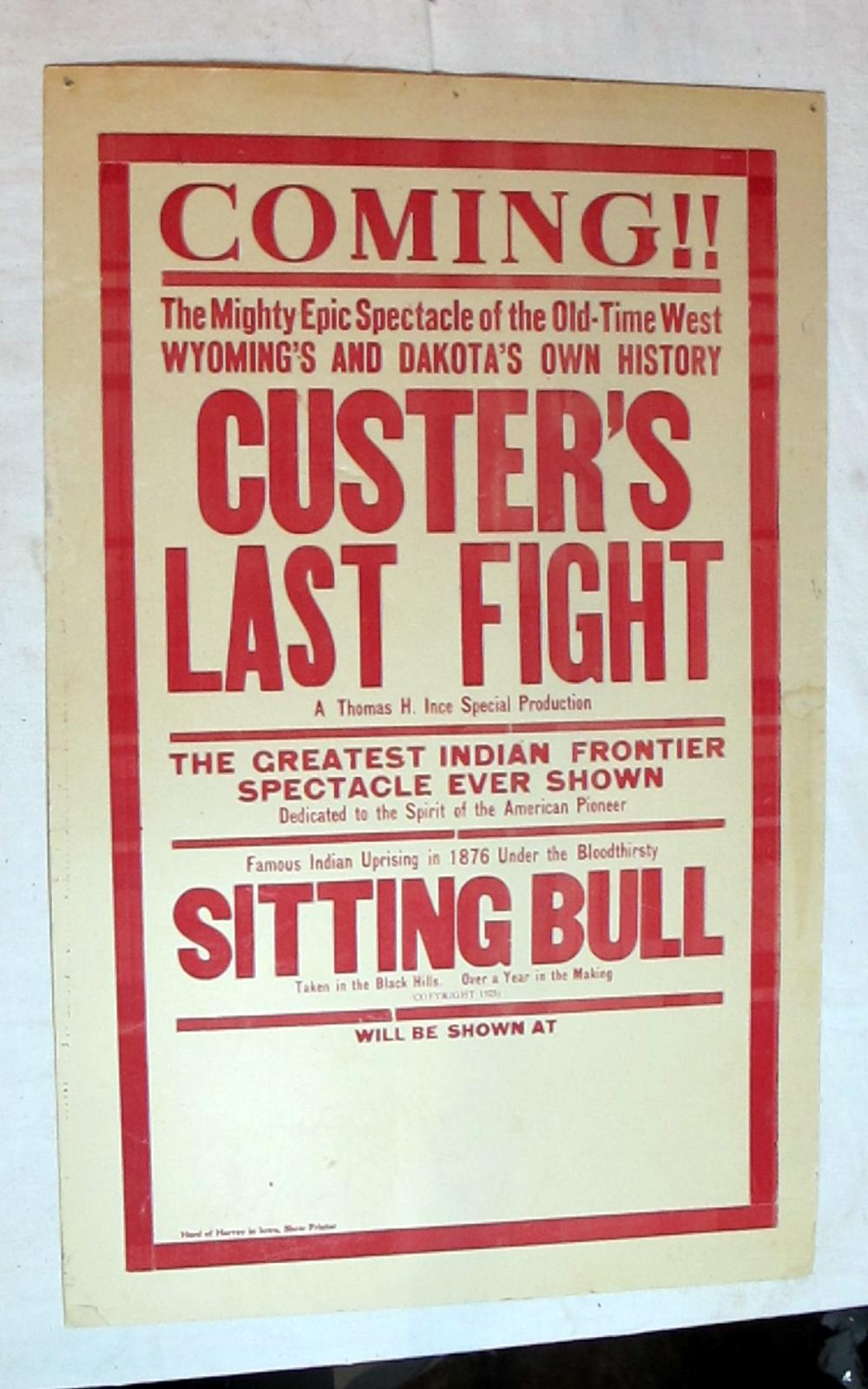ORIGINAL 1925 CUSTERS LAST FIGHT MOVIE POSTER BROADSIDE SIGN SITTING BULL  14 X 22