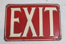 Lot 109: 1930'S EMBOSSED STEEL RED WHITE EXIT SIGN 7 X 10 INCHES