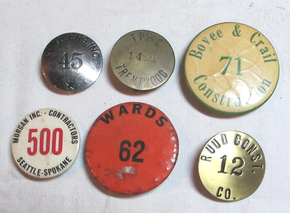 6 DIFF VINTAGE CONTRACTOR EMPLOYEE BADGES BUTTONS SEATTLE SPOKANE CA COLO ETC