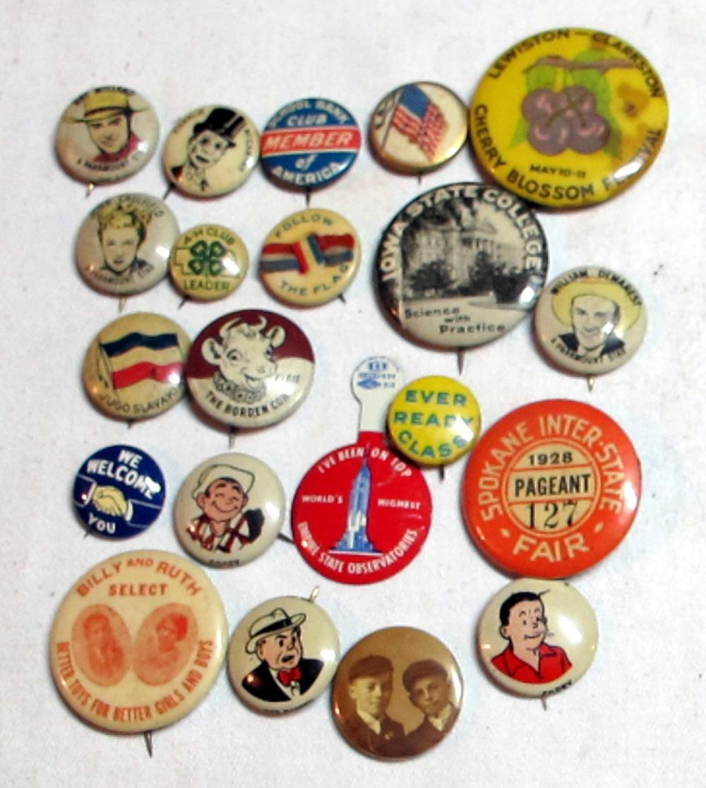 21 DIFF OLD PINBACK BUTTONS PREMIUM ADVERTISING PEP SPOKANE FAIR BORDENS IOWA ST COLLEGE ETC